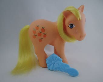 My Little Pony Mon Petit Poney MLP G1 Applejack 83 Italy with Blue Flower Brush