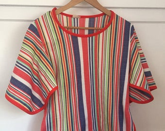Vintage Tunic Top / 1970's / Striped Rainbow / Tunic Shirt / Bobo Hippy Chic / Polyester / Gorgeous Amazing