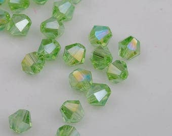 Set of 10 4mm clear AB - Ref green Bicone Crystal beads: SJ02