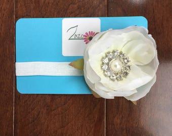 Ivory, flower headband, flower clip, bridal flower clip, flower girl headband, Christmas gift, gifts for her, gifts for kids