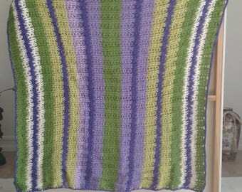 Baby blanket//purple blanket//green blanket//purple and green//knit blanket//crochet blanket//crochet//hand-knitted blanket//baby bedding