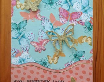 Birthday card, butterfly card in gold