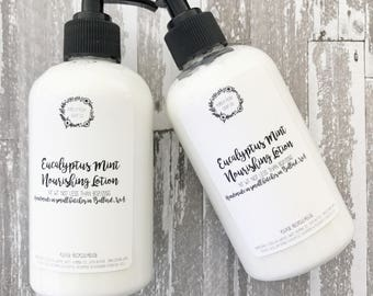 Body Lotion Eucalyptus Spearmint: Body Lotion, Natural Lotion, Shea Butter Lotion, Handmade Lotion, Hand Lotion, Vegan Lotion