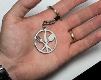 Steel Keychain or pendant with knife, fork, spoon, restaurant- FREE SHIPPING