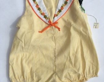 SALE Vintage 70s Yellow Pinstripe Romper/White and Yellow Pinstripe/new Dead Stock/Girls size 3t