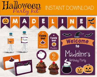 Halloween Party Kit, Editable Party Kit, INSTANT DOWNLOAD, Halloween Decorations, Halloween Party, Halloween Birthday Party, Halloween Kids