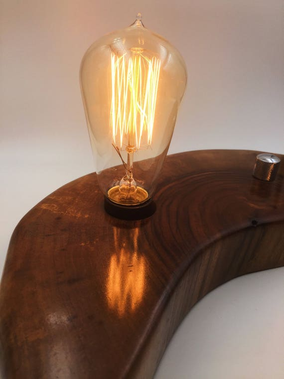 Live Edge Walnut Wood Block Desk Lamp. Edison Bulb and on / off switch with Guitar Knob