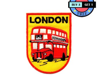 Red London Double Decker Bus UK Embroidered Iron On Patch Heat Seal Applique Sew On Patches