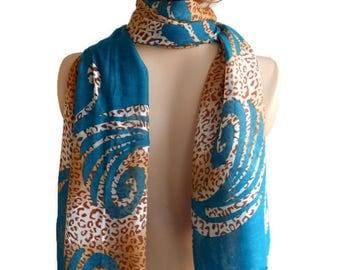 Pashmina Scarf, Wide Teal scarf, Women Cotton Scarf, Scarf shawl, Leopard scarf, Women scarf, Summer scarf, Scarf Woman, Cotton Scarf