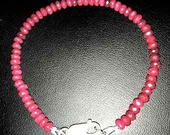 Ruby Bracelet with Sterling Silver Lobster Clasp