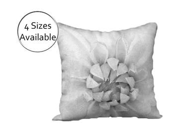 Gray Floral Pillow Printed Cover Case Lumbar Throw Minimalist Modern Decorative Sham Velveteen Canvas Pillow Square Oblong Light White