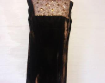 Vintage 196Os brown velvet beaded dress size 12