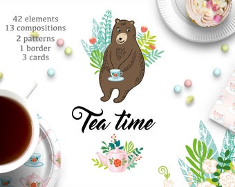 Teatime/Vector set/Elements/Pattern/Cards/Art print/Nursery decor/Invitation/Party/Tea/Baby shower/Kids/Cute animal/Woodland/Birthday