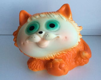 Vintage rubber cat, Soviet bath toy, Cheshire Cat orange figurine