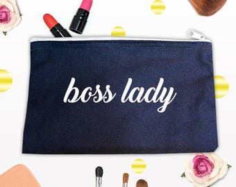 Boss Lady Makeup Bag, Gift Bag, Birthday Present, Personalized Bag,Bag for Women,Cosmetic bag
