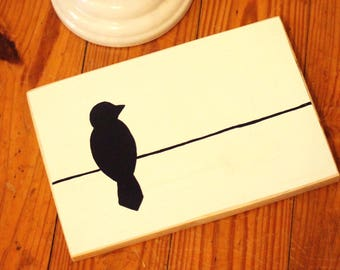 Bird on a Wire, Black & White, Farmhouse, Country, Handmade, Hand Painted, Black Bird, Wall Hanging