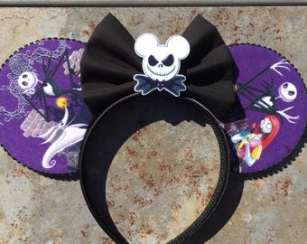Jack and Sally Mickey ears, Jack and Sally Minnie ears, Nightmare Before Christmas, nightmare before Christmas Mickey ears, halloween