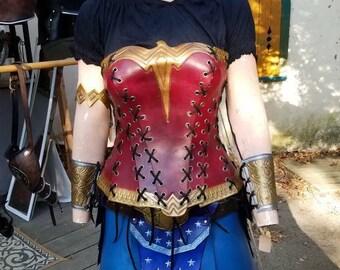 Wonder Woman leather armor cosplay