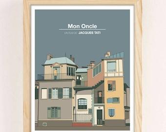 NEW! MON ONCLE, Jacques Tati, Minimal Movie Poster.