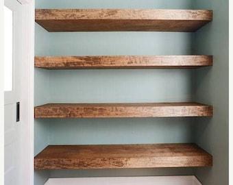 Wood Floating Shelf Sale Wood Floating Shelves 12-inches Deep | Rustic Shelf | Farmhouse Shelf | Reclaimed Wood Floating Shelf | Handmade Sh
