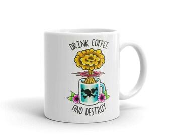 Drink Coffee and Destroy, Bouncing Souls Tattoo Flash Mug