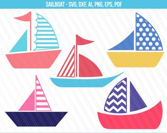 Sailboat svg, Sailboat cliparts, Boat cutting files, Nautical svg - Svg, png, Eps, Ai, Pdf, Dxf - Instant digital download