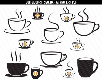 Coffee cup SVG, Coffee svg files, Coffee mug svg, Cafe svg, Coffee cup monogram,Kitchen svg,silhouette, cricut - Svg, dxf, eps, png, pdf, Ai