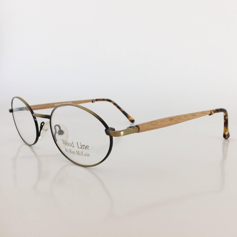 wood frame glasses vintage frames vintage eyeglasses woodline eyewear oval antique bronze - Wood Frames Glasses
