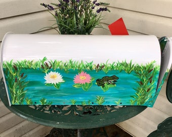 lily pond mailbox hand painted mailboxes decorative mailboxes custom post mailbox with frog - Decorative Mailboxes