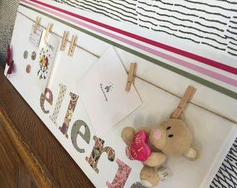 "Personalised decorative peg board for photos and keepsakes - with 3D butterfly design icon - 30"" x 12"" - ellerie"