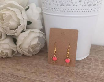 Earrings Pilla Golden geometric coral pink tassel
