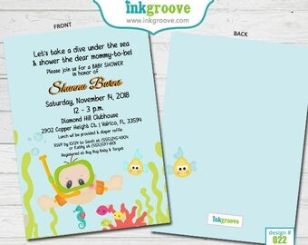 Snorkeling Under the Sea Baby Shower Invitations Baby Diver