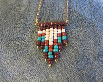 Handmade Bead Necklace with Gold Chain