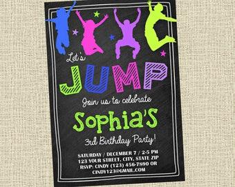 Jump Chalkboard Invitation - Bounce Party Invitation - Birthday Party Invite - Digital - Personalized Customized