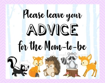 Please Leave Your Advice for the Mom To Be Sign, Gender Reveal Table Sign, Printable, Baby Shower Party, Woodland Design style