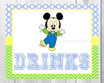 "Drinks Sign, Baby Mickey Mouse Birthday Party Sign, 8""x10"" Printable, Instant Download"
