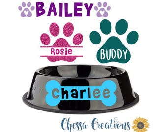 Dog Bowl Decal, Puppy Accessory, Puppy, Dog Sticker, Pet Decal, Dog Bowl Label, Dog Gift, Dog, Pet,Collar, Dog Tag, Dog Bed