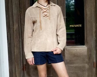 Vintage 1970s 70s deer skin suede pullover lace up jacket mountain man shirt pioneer mens size small