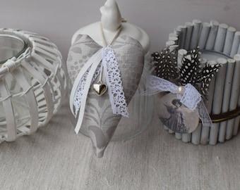 Heart door cushion fabric grey - decorative ribbon and charm - wall decoration - heart shabby lace heart - heart in gray fabric