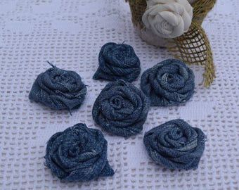 Pink denim - set of six decorative for creation - made fabric rose hand - set of six roses - creation-supplies - shabby Blue rose