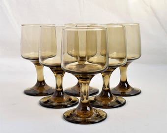 """Set of Six Tall (5-1/8"""") Libbey smoked-amber Goblets/ Brown Wine Goblets"""