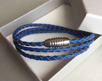 Navy Blue Leather Bracelet- Multi Strand Bracelet- Leather Bracelet-Braided Bracelet