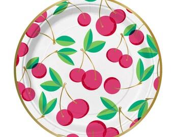 Cherry Plates,Fruit Party, Cherries,Cherry Party Plates,Summer Party, Cherry Party,Gold Foil Plates,Cherries,Cherry Theme Party,Paper Plates