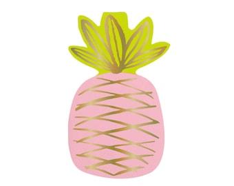 Pineapple Napkins,Gold Foil Pineapple,Pineapple Party,Beverage Napkin,Summer Napkins,Pineapple,Pink Pineapple, Gold Foil Napkin,Summer