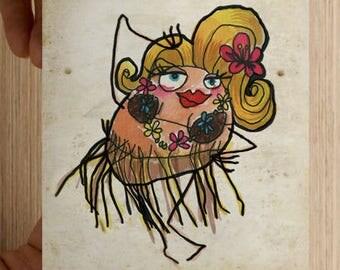 """Map postcard Ms. Patate """"tattoo Hula"""""""