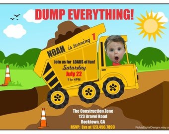 Dump Truck Birthday Invitation, Construction Birthday Invitation, Custom Photo Birthday Card, Construction Party, Dump Truck Party