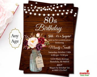 80th Birthday Invitations for Women, Rustic Birthday Invitation, Mason Jar Floral, Surprise Birthday Invitations, Wooden String Lights, A48
