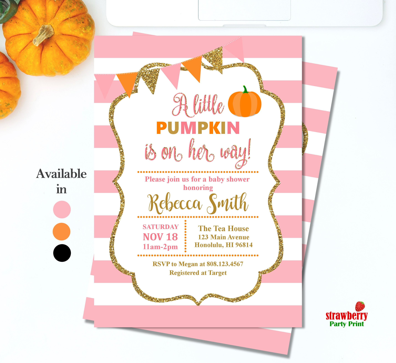 Pumpkin Baby Shower Invitation. Fall Baby Shower Invitations Girl. A ...
