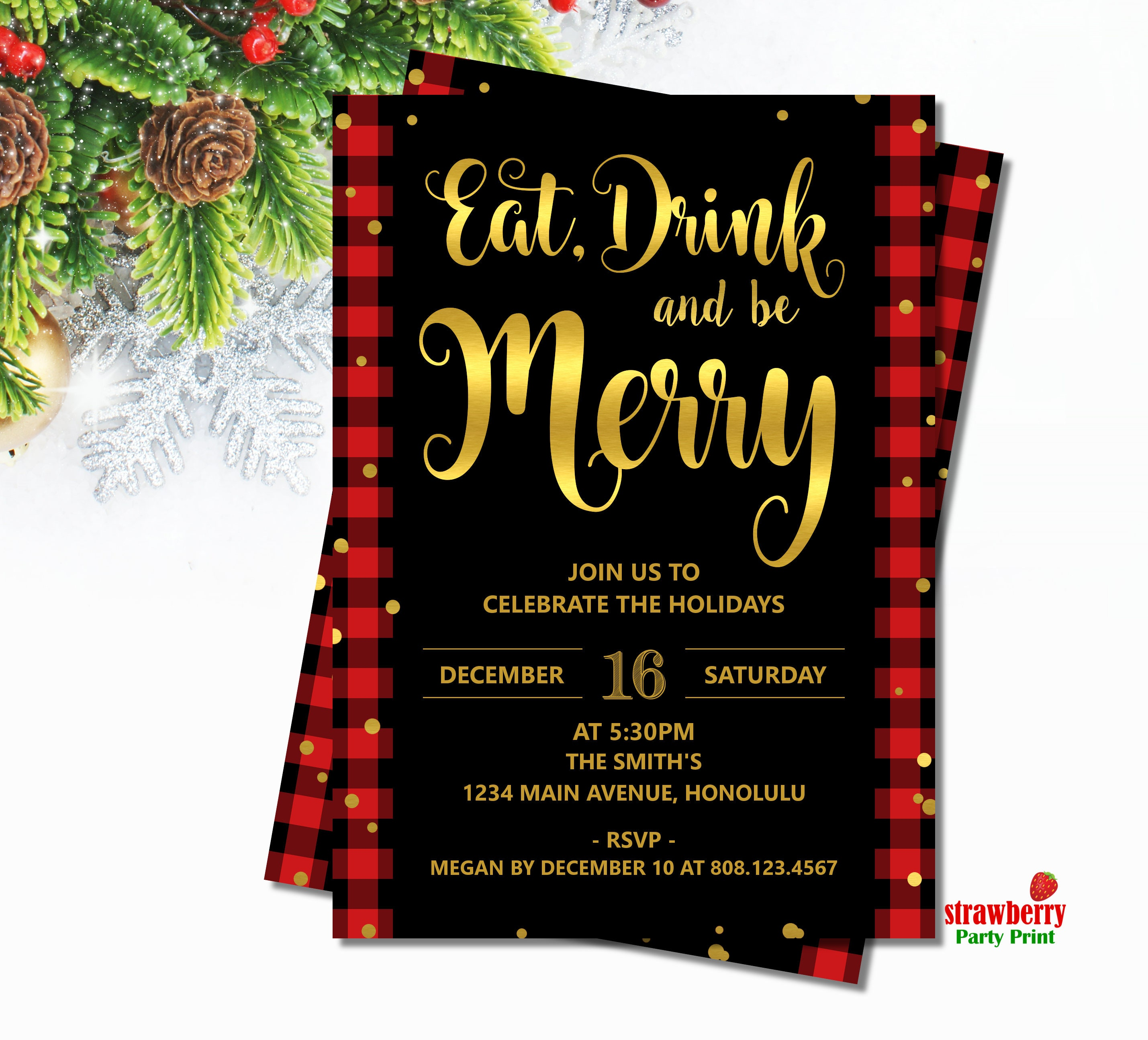 Eat Drink and be Merry Invitation. Buffalo Plaid Christmas Party ...