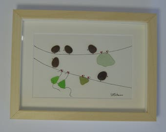 Pebble Art Washing Line with Birds and Underwear, Pebble and Seaglass Art Picture